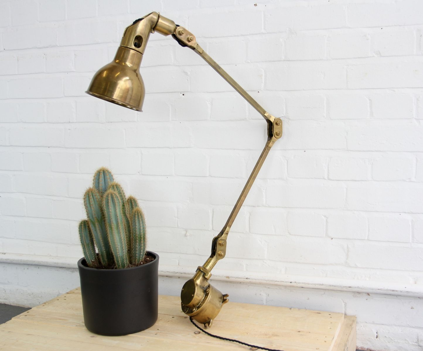 Solid Brass Task Lamp By Mek Elek, 1940s