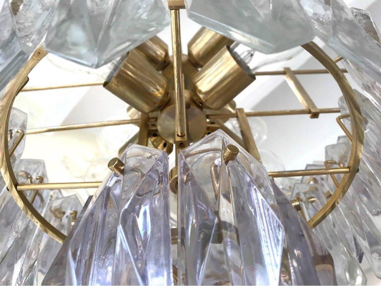 Deutscher Vintage Kronleuchter aus Glas mit vergoldetem Rahmen von ...