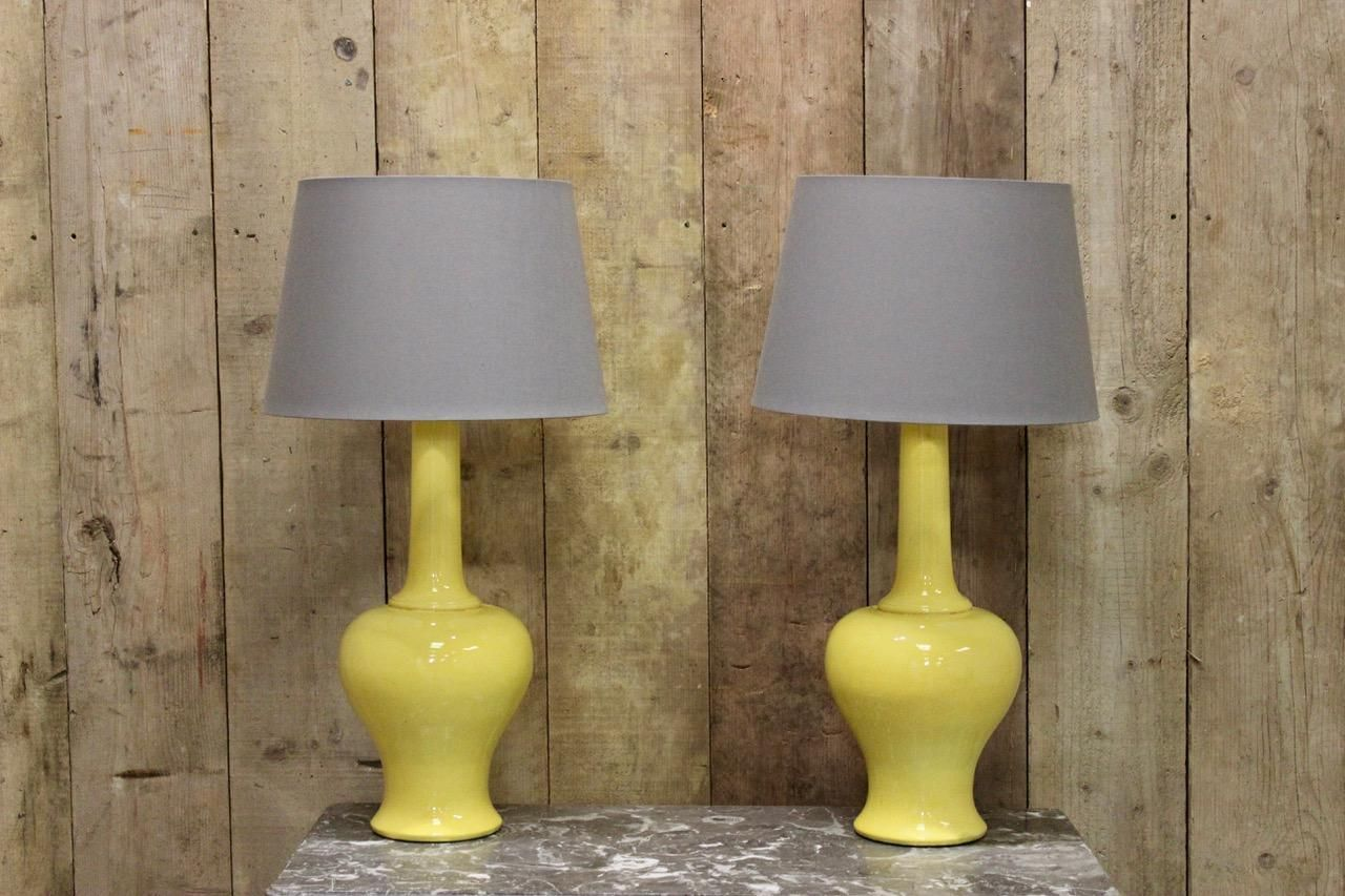 Vintage Italian Yellow Glazed Pottery Table Lamps, 1970s, Set Of 2