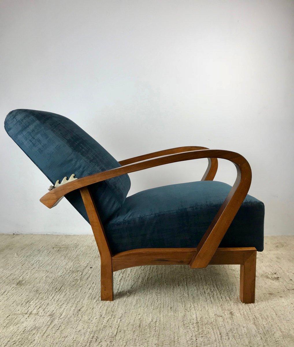 verstellbarer art deco eichenholz sessel 1930er bei. Black Bedroom Furniture Sets. Home Design Ideas