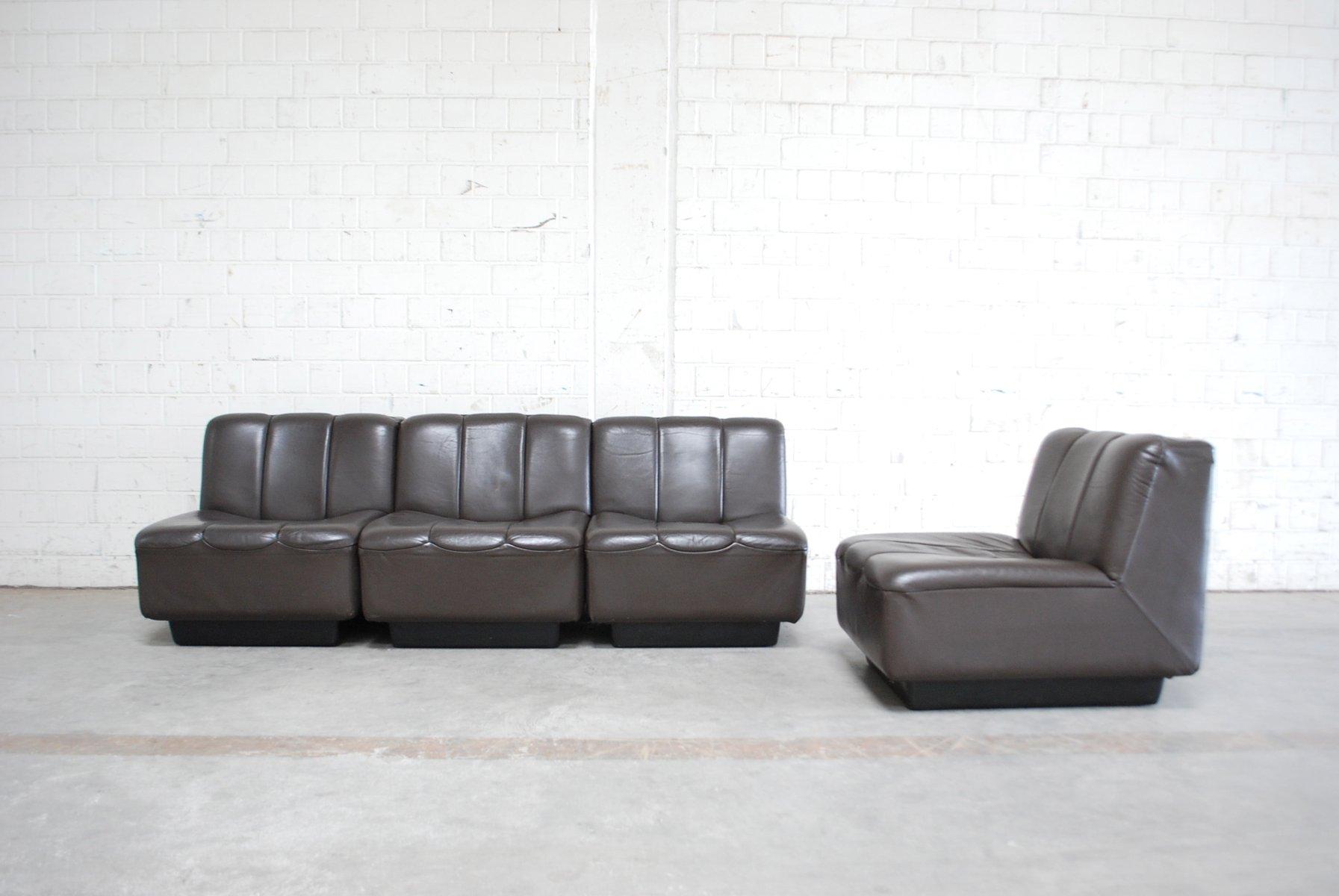 Vintage Modular Brown Leather Sofa, 1970s