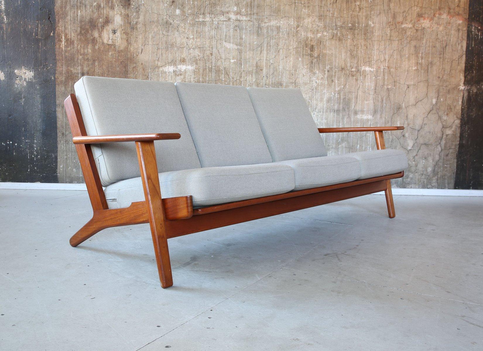 vintage danish ge 290 3 seater sofa by hans j wegner for. Black Bedroom Furniture Sets. Home Design Ideas