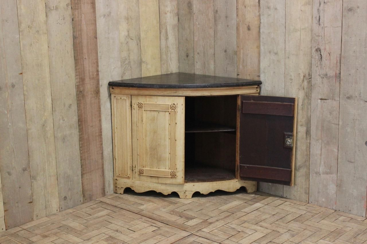 €3,800.00 - Antique Corner Cupboard In Bleached Oak With Marble Top, 1850s For