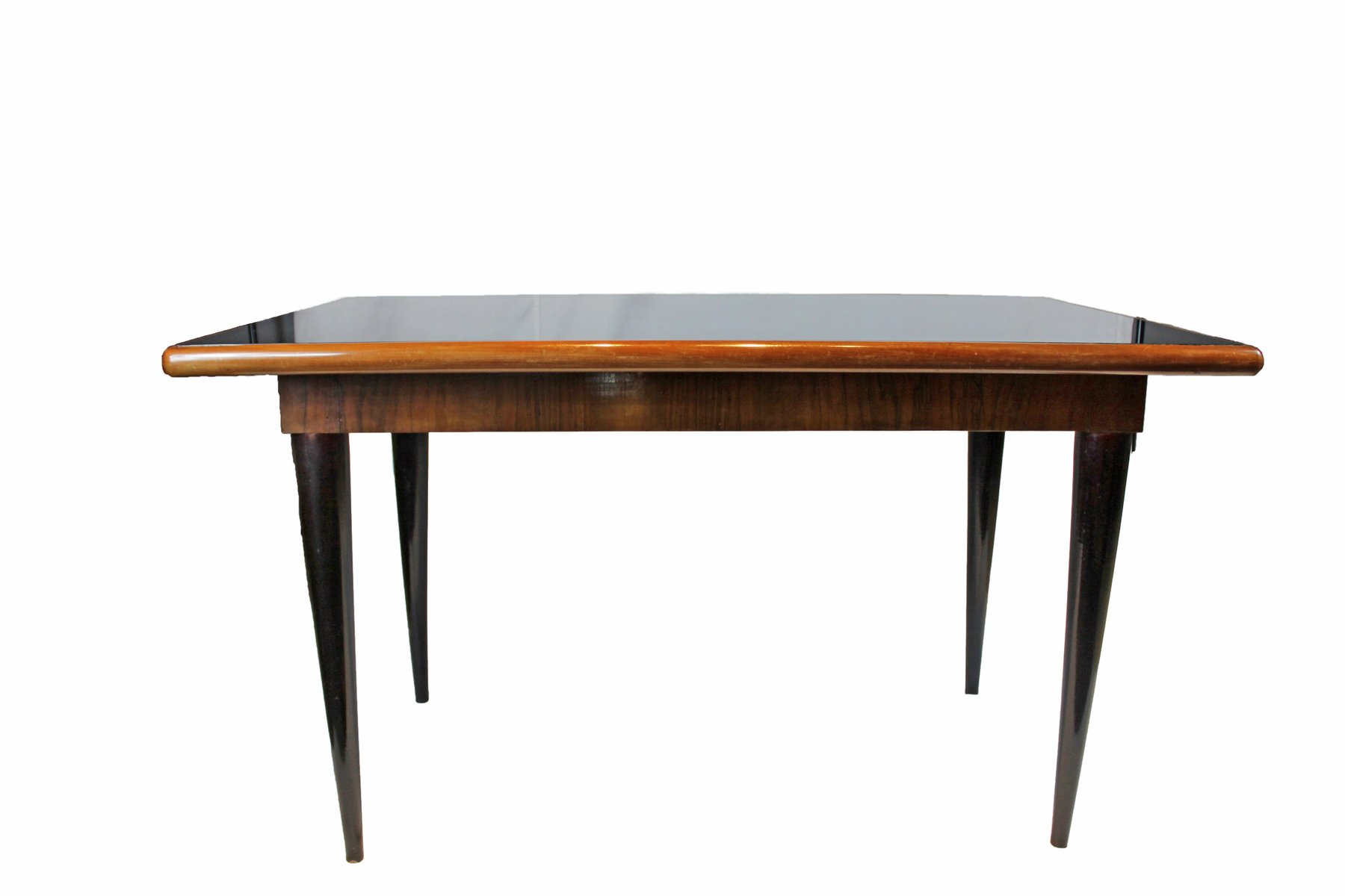 Italian Dining Table With Mirrored Black Glass, 1950s For Sale At Pamono
