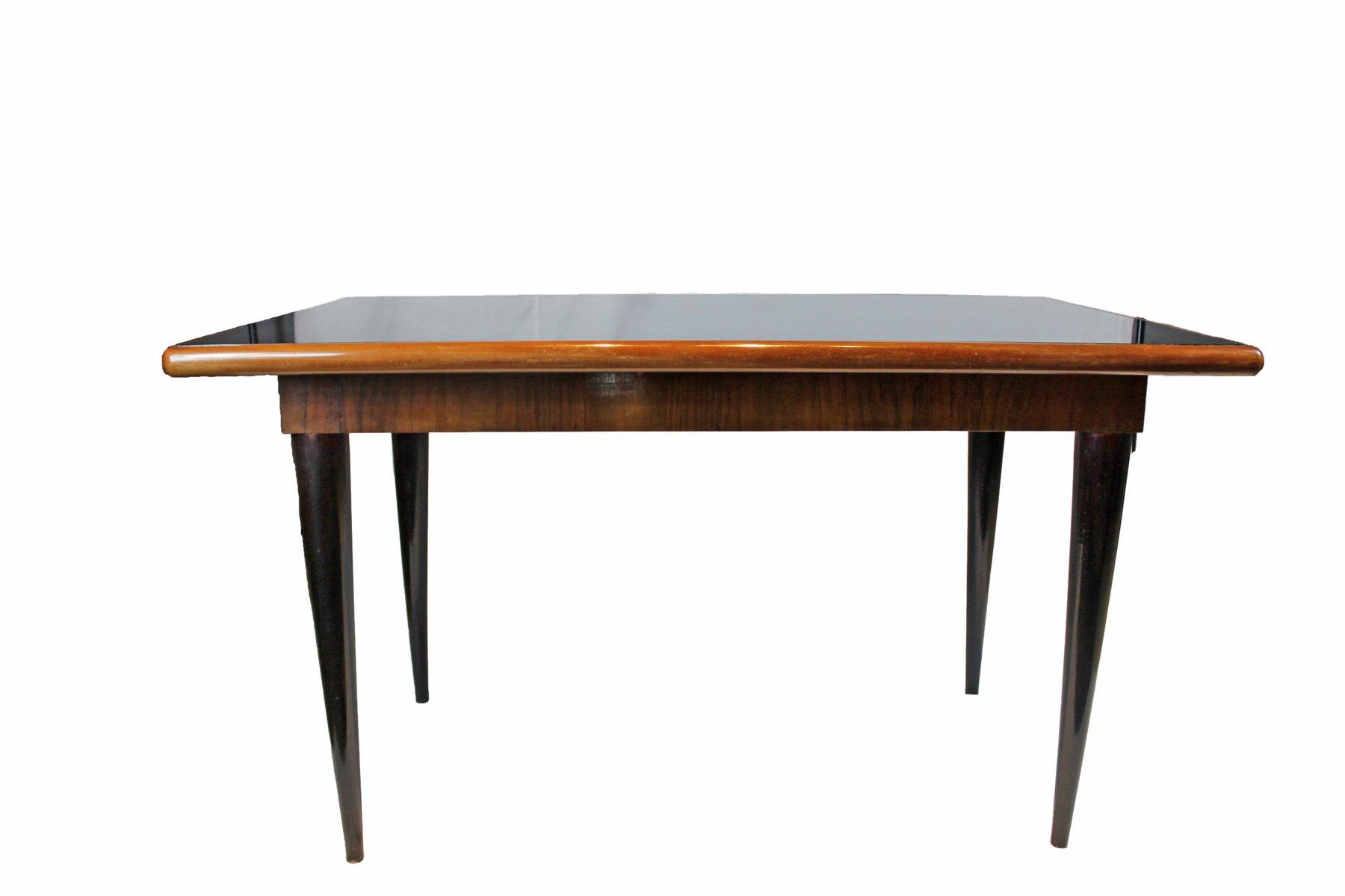 italienischer esstisch mit schwarzem spiegelglas 1950er. Black Bedroom Furniture Sets. Home Design Ideas