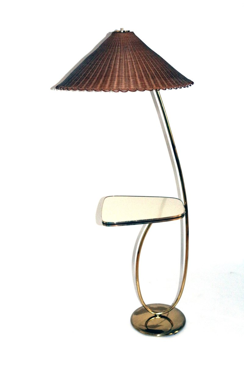 Vintage Brass Floor Lamp with Integrated Table by Rupert Nikoll ...