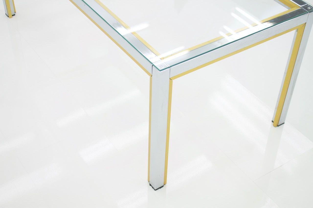 chrom messing glas couchtisch von renato zevi f r romeo. Black Bedroom Furniture Sets. Home Design Ideas