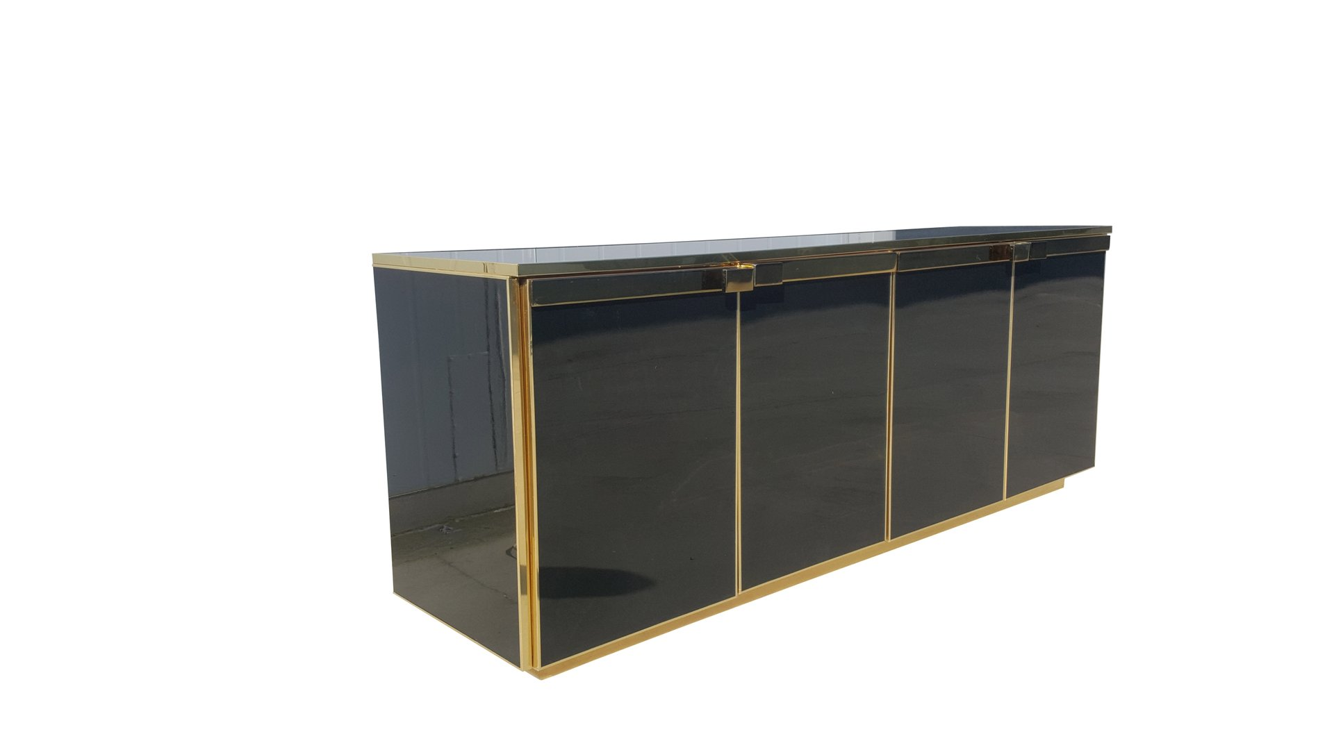 Brass and Black Glass Five Doors Credenza from Maison Jansen 1970s for sale at Pamono  sc 1 st  Pamono & Brass and Black Glass Five Doors Credenza from Maison Jansen 1970s ...