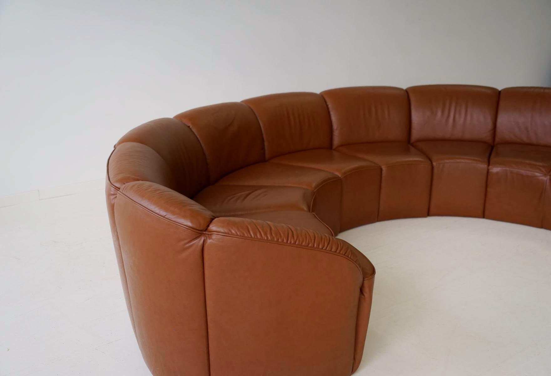 Vintage Curved Leather Sofa By Walter Knoll 1960s For