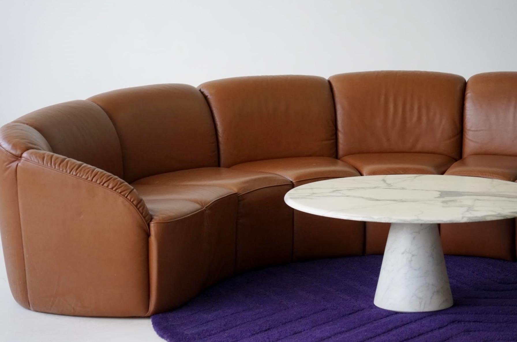vintage curved leather sofa by walter knoll 1960s