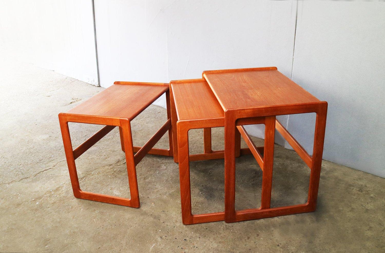 Mid Century Danish Nesting Tables By Arne Hovmand Olsen For Mogens Kold,  1960s, Set Of 3
