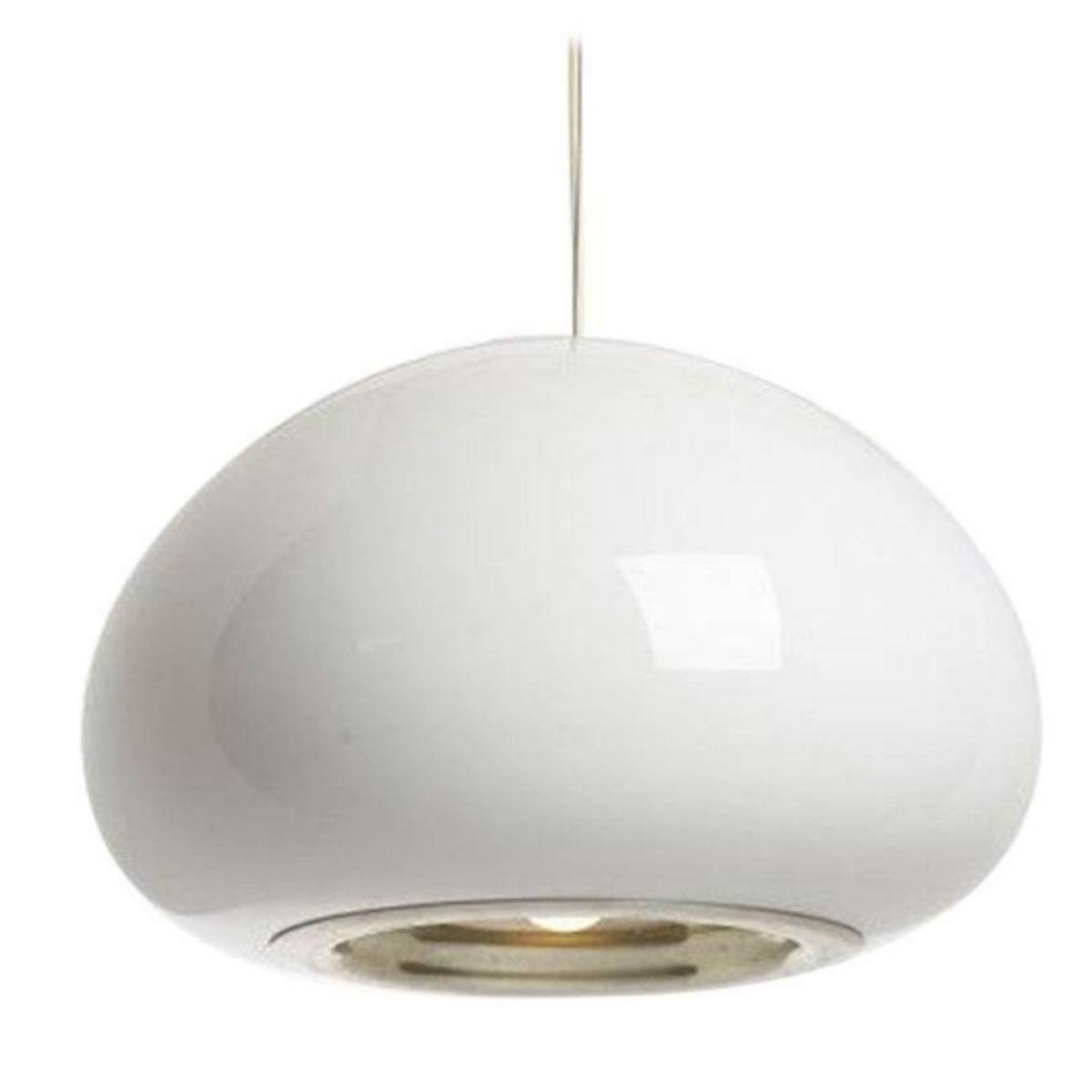 Lampada a sospensione in vetro bianco e nero di for Lampada di castiglioni prezzo