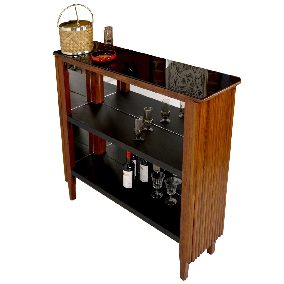meuble de bar vintage en similicuir verre noir en vente. Black Bedroom Furniture Sets. Home Design Ideas