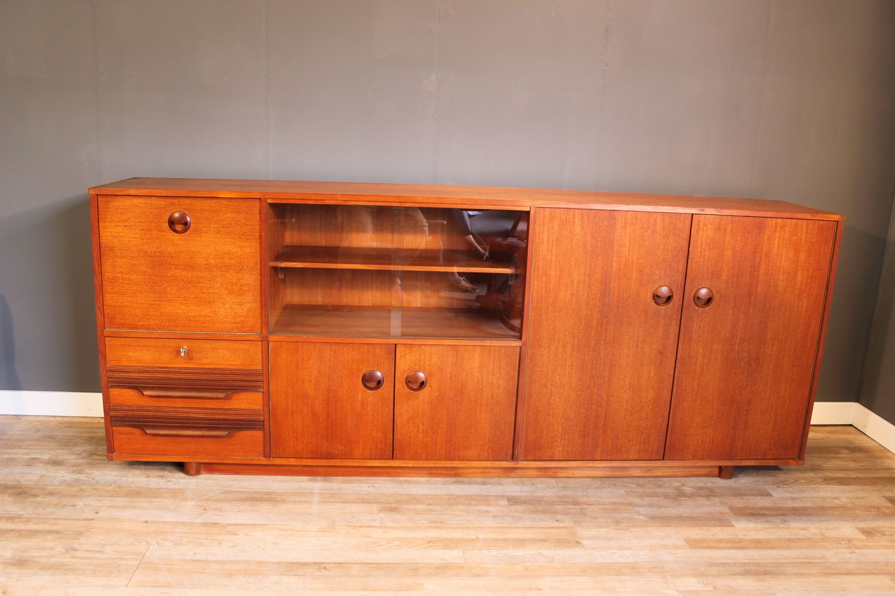 teak sideboard from musterring international 1950s for. Black Bedroom Furniture Sets. Home Design Ideas