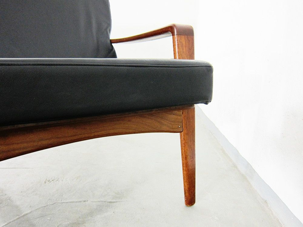 vintage danish leather teak 3 seater sofa by arne wahl iversen for komfort for sale at pamono. Black Bedroom Furniture Sets. Home Design Ideas