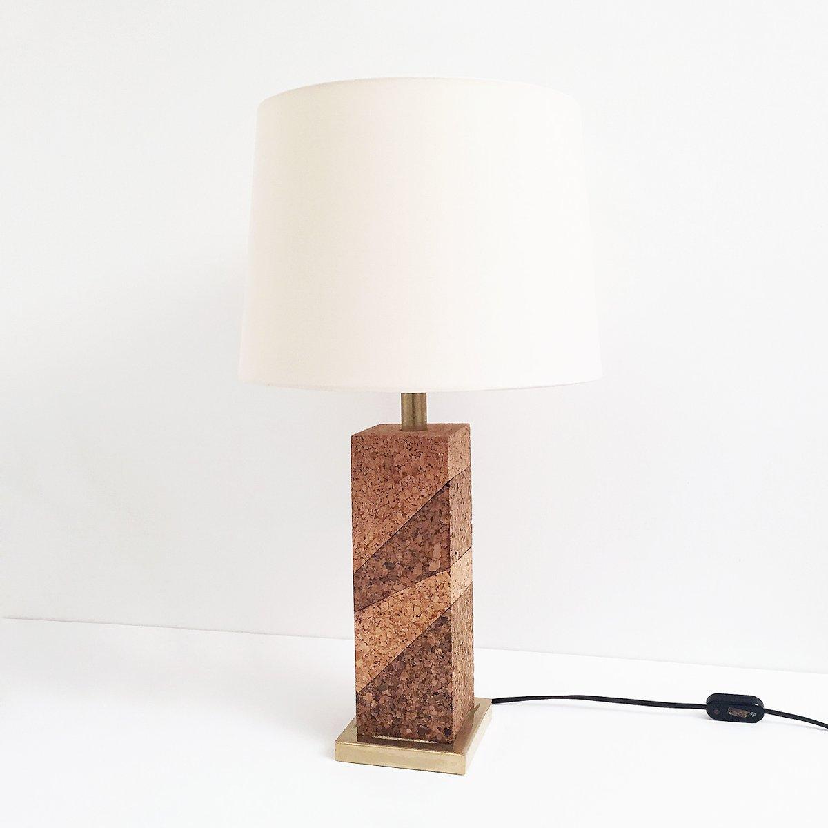 tischlampe aus korken messing 1970er bei pamono kaufen. Black Bedroom Furniture Sets. Home Design Ideas