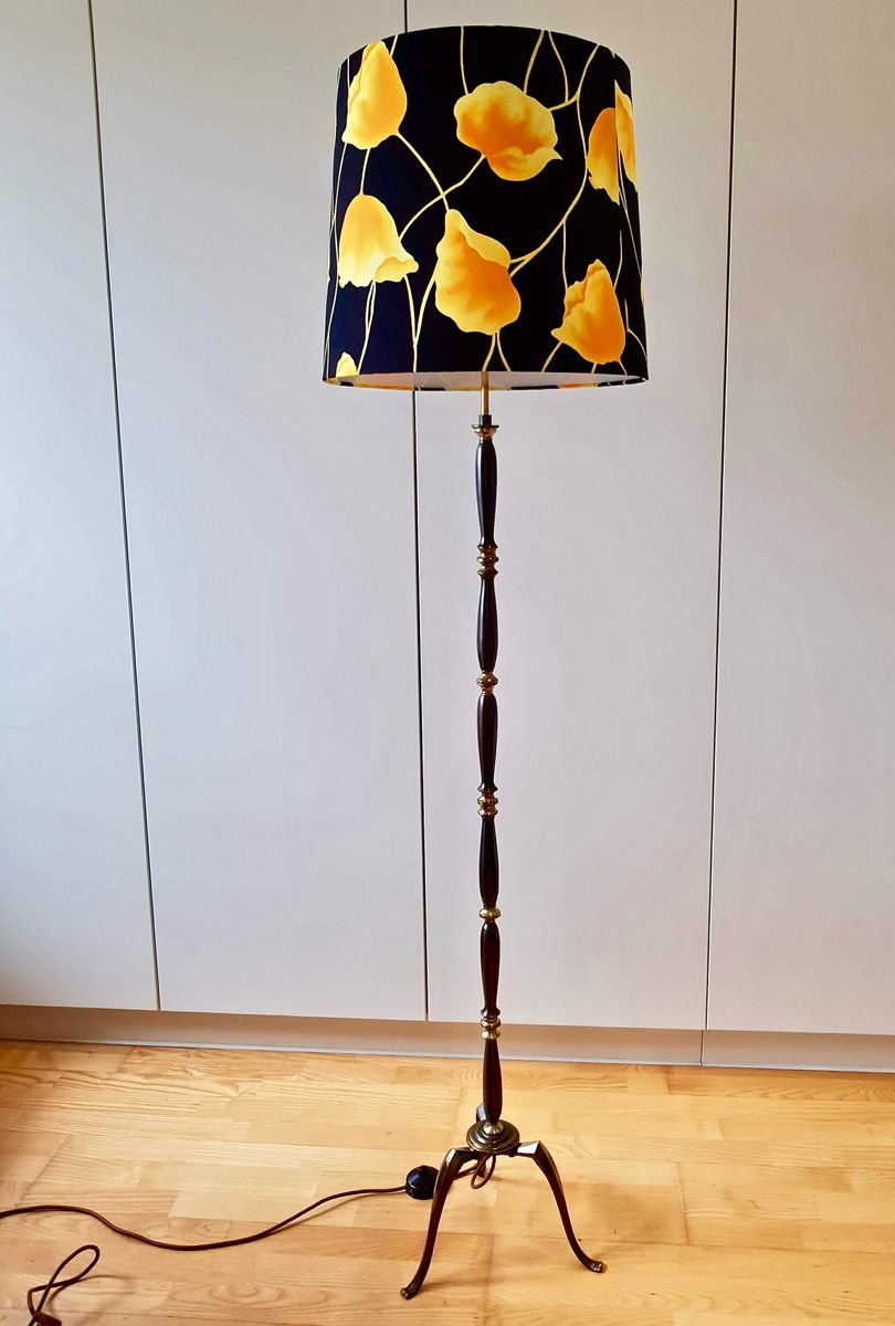 Copper floor lamp with tripod and multicolored shade for Copper camera floor lamp