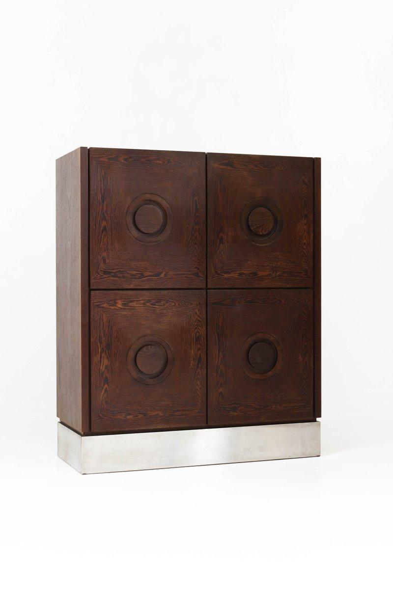 mid century modern brutalist wenge bar cabinet 1970s for. Black Bedroom Furniture Sets. Home Design Ideas