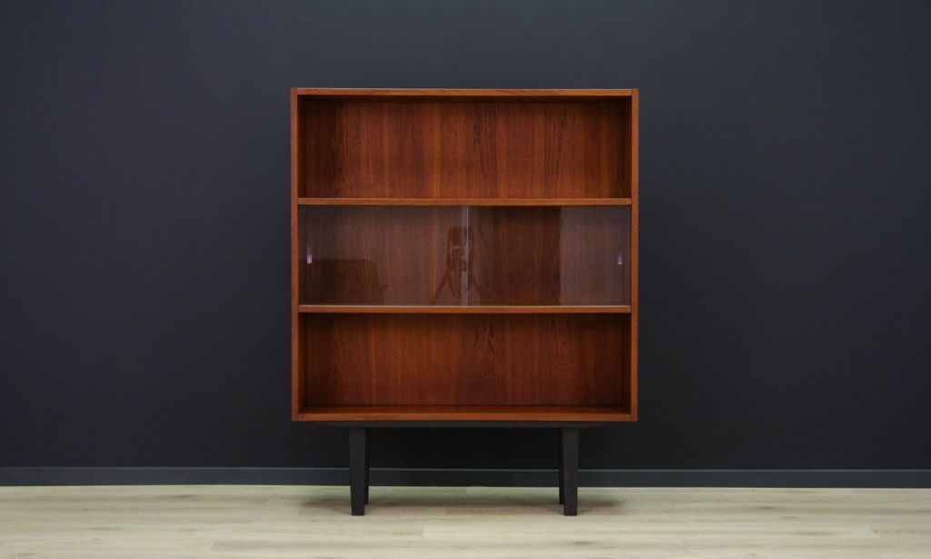 Teak Veneer Bookcase With Sliding Glass Doors From Clausen Sn