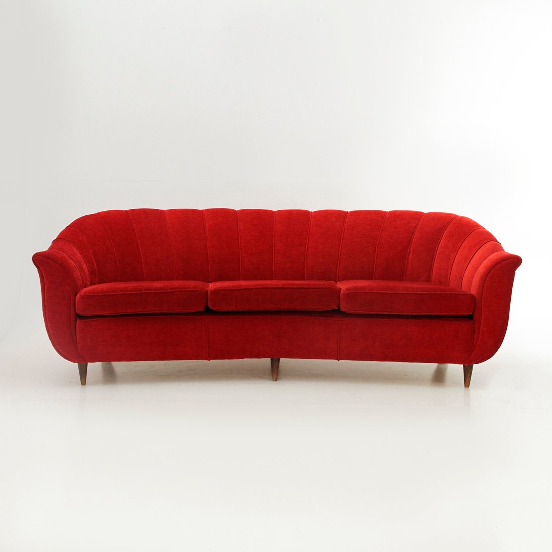 italian 3 seater red sofa 1950s for sale at pamono - Red Sofa