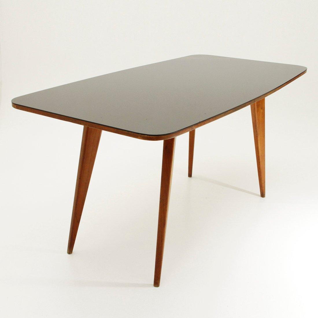 italienischer esstisch aus holz mit schwarzer glasplatte. Black Bedroom Furniture Sets. Home Design Ideas