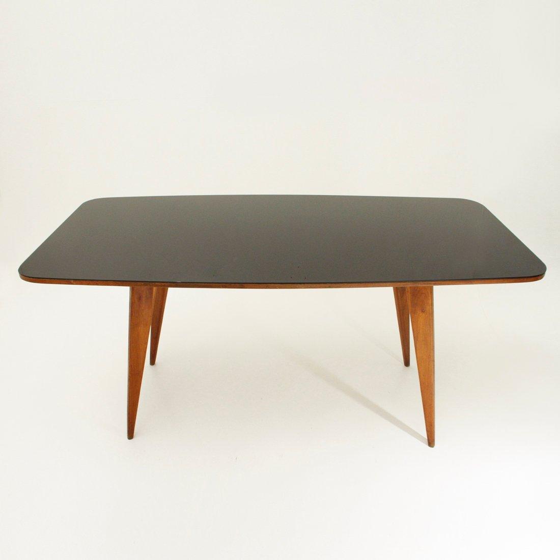 italienischer esstisch aus holz mit schwarzer glasplatte 1950er bei pamono kaufen. Black Bedroom Furniture Sets. Home Design Ideas