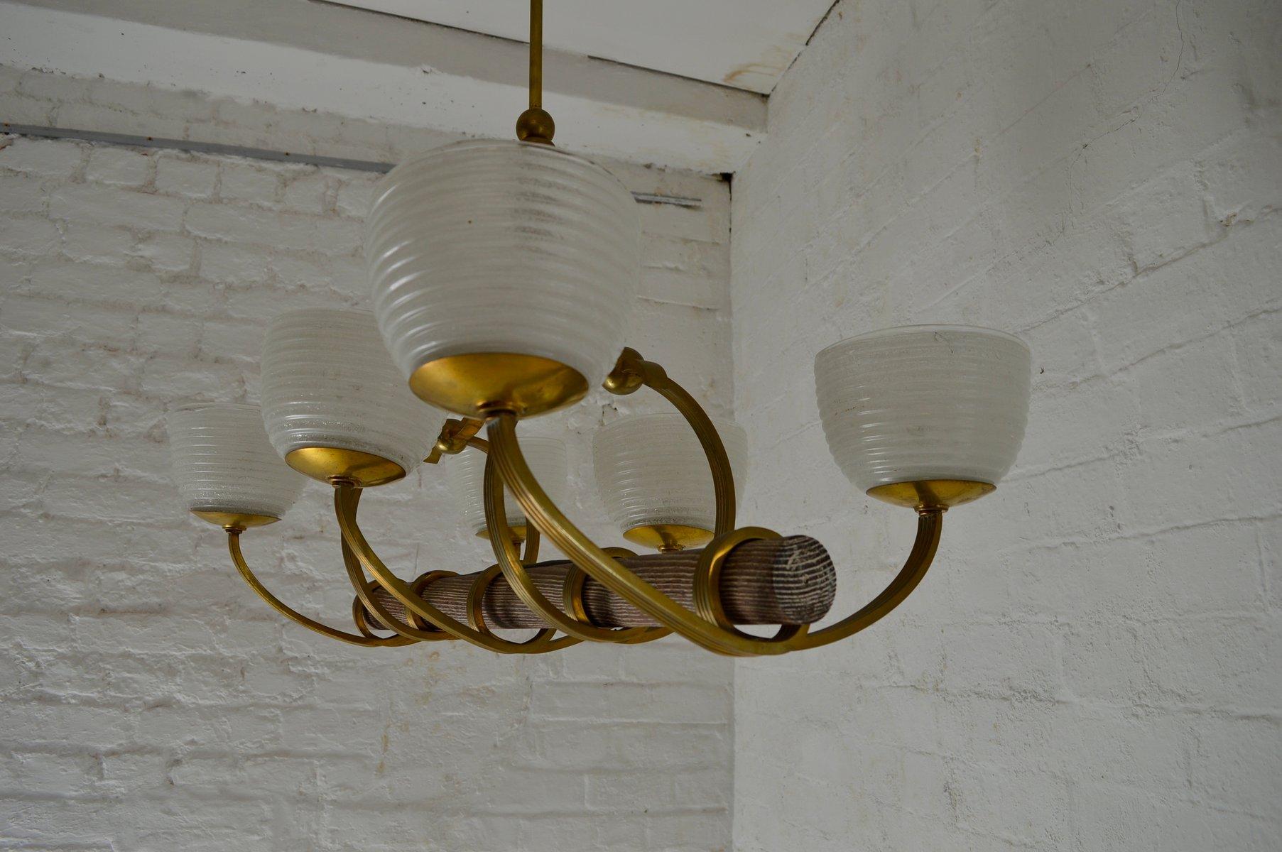 Italian art deco style chandelier 1940s for sale at pamono italian art deco style chandelier 1940s arubaitofo Gallery