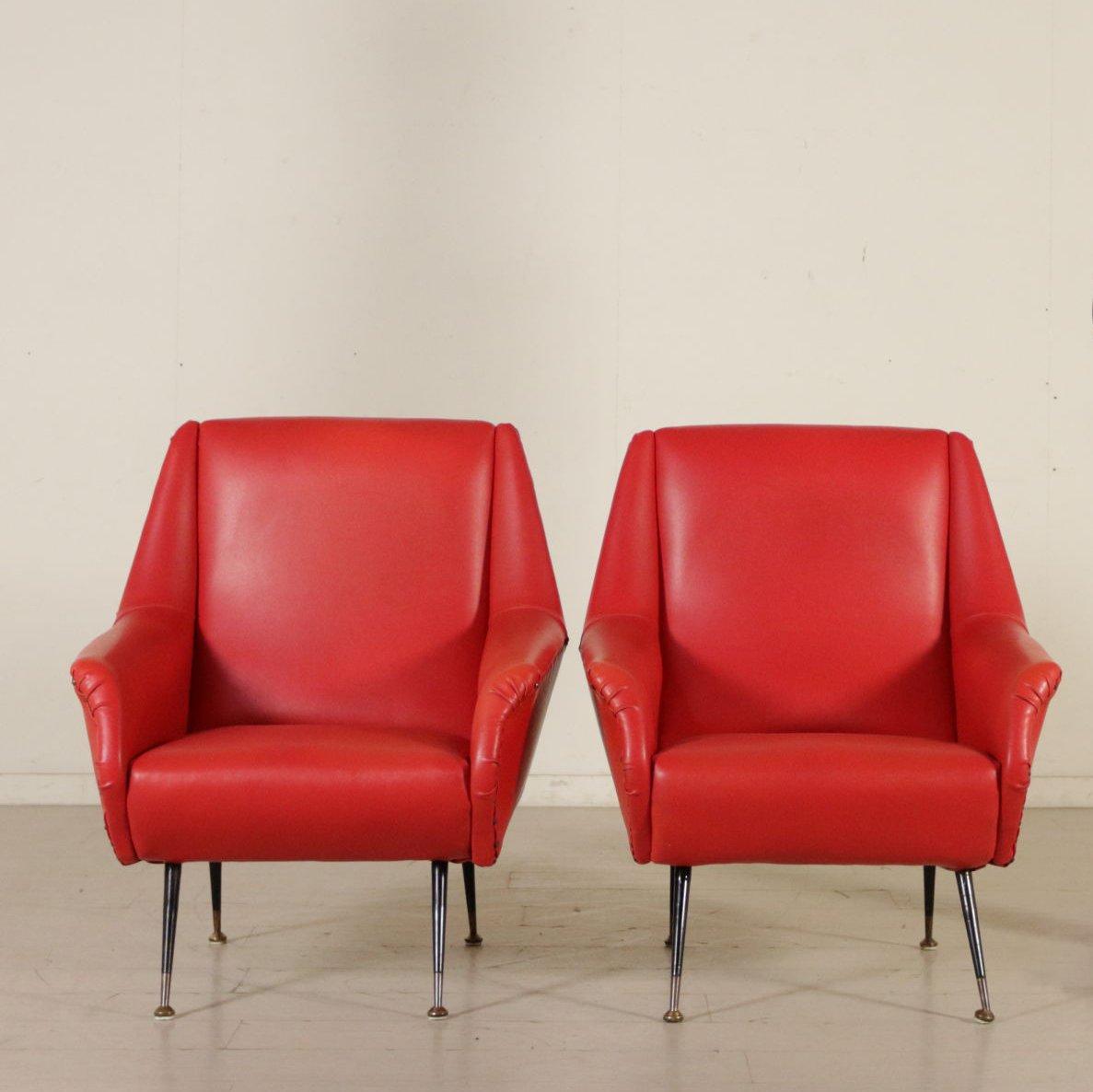 Mid century italian skai metal armchairs with foam padding set of 2