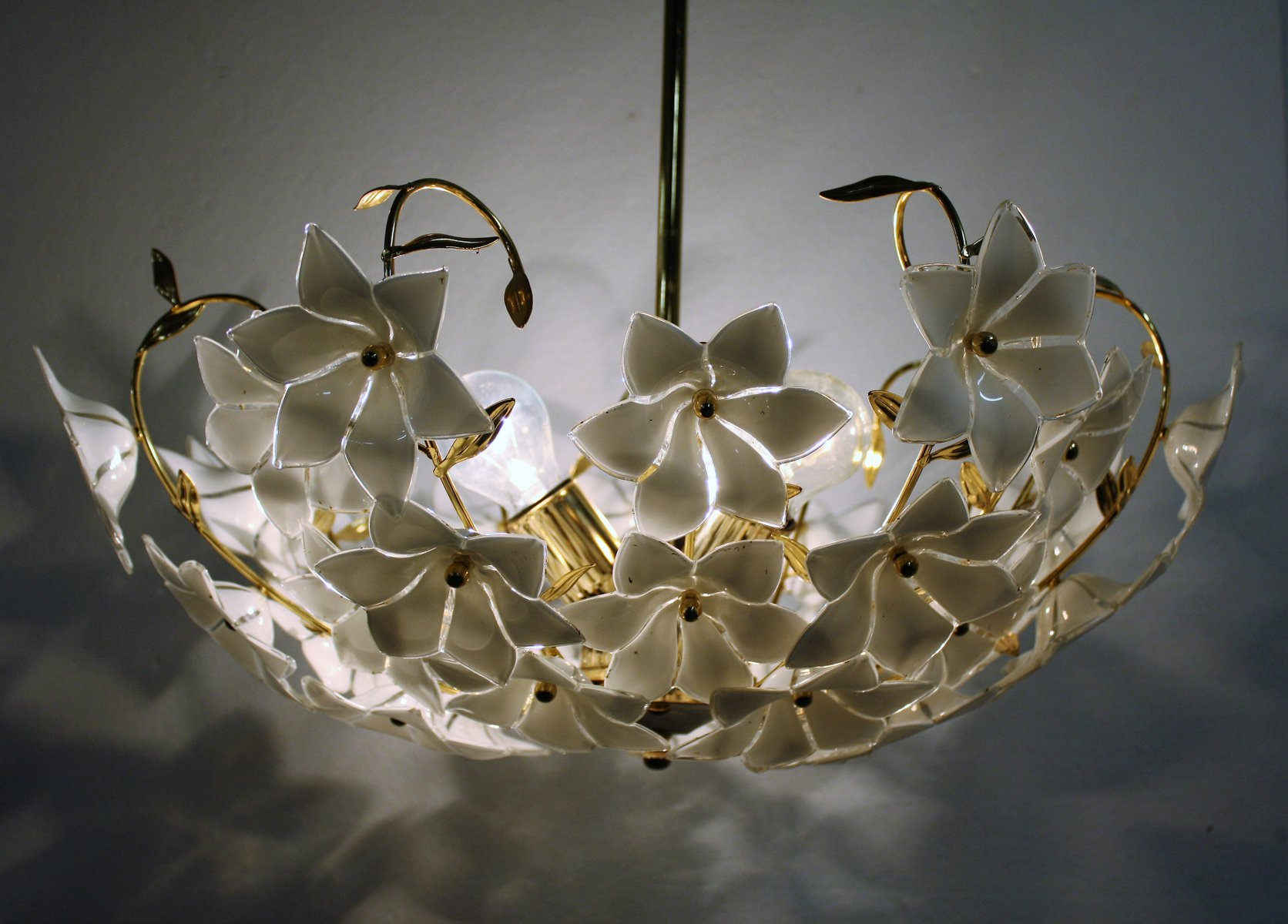 Brass murano glass flower chandelier 1970s for sale at pamono arubaitofo Image collections
