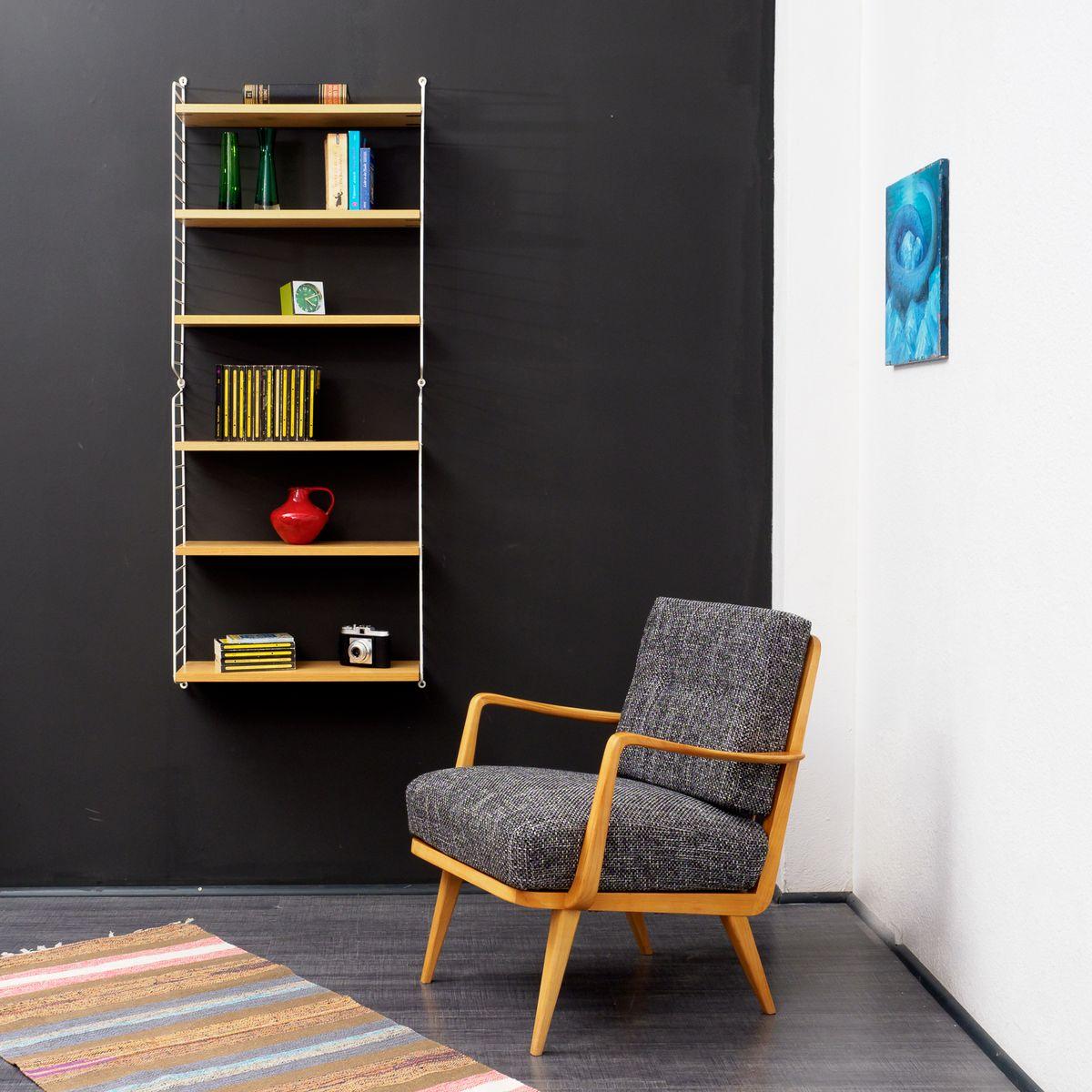 armlehnsessel aus kirschholz 1950er bei pamono kaufen. Black Bedroom Furniture Sets. Home Design Ideas