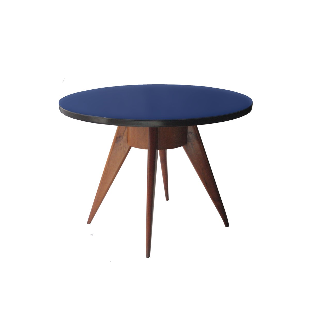 Round Dining Table with Ash Structure and Blue Glass Top