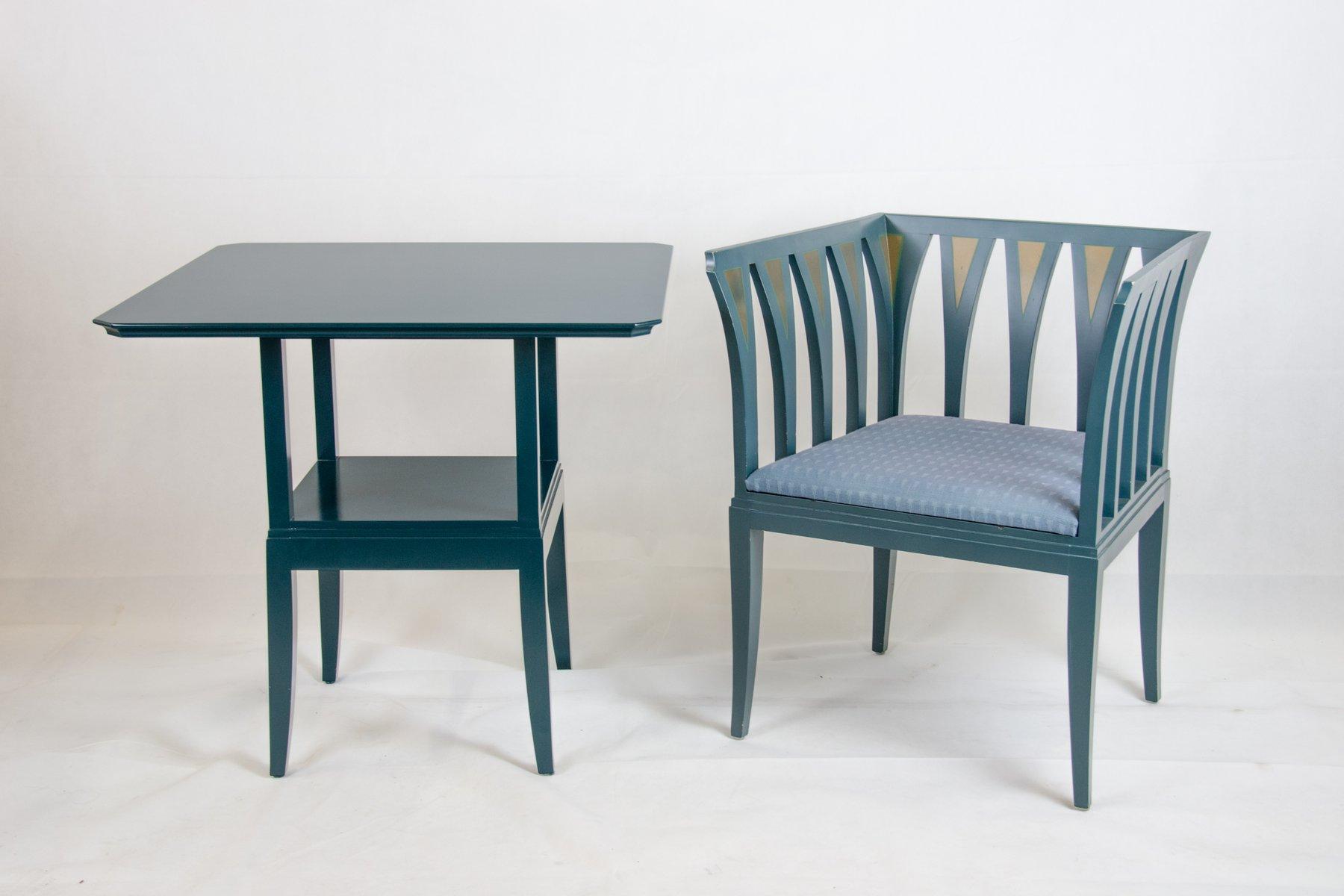 blue suite tisch und cranbrook stuhl von eliel saarinen. Black Bedroom Furniture Sets. Home Design Ideas