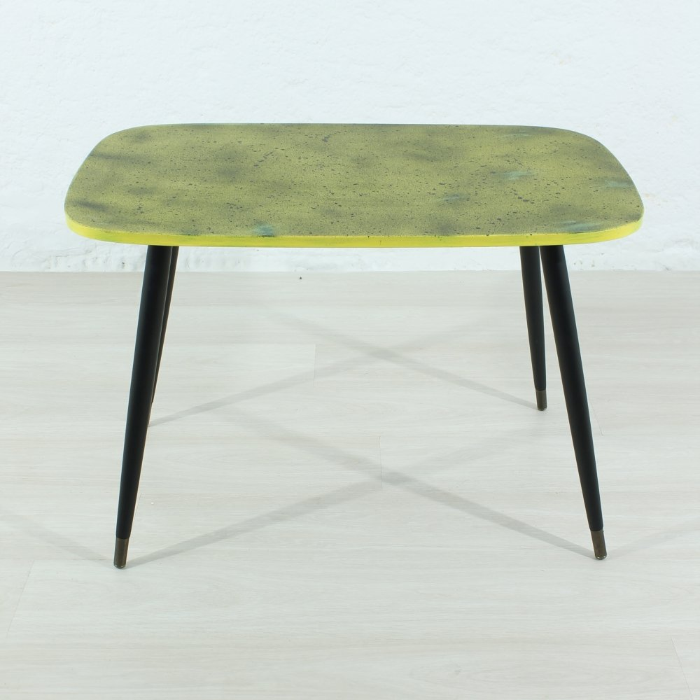 Coffee table in black yellow 1950s