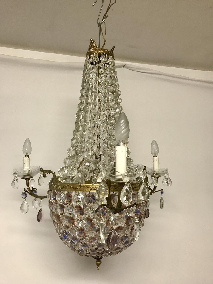 Vintage italian crystal chandelier for sale at pamono vintage italian crystal chandelier aloadofball Choice Image