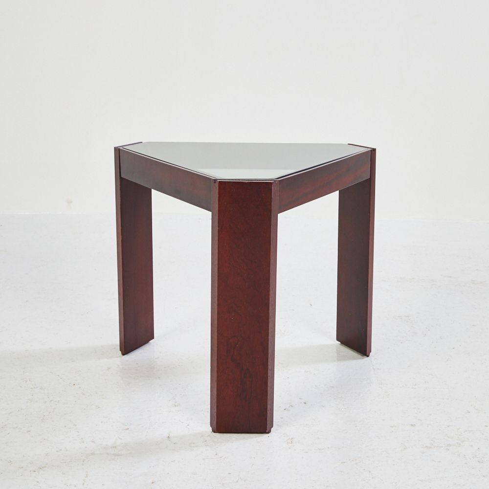 Vintage wooden side table with smoked glass top s for