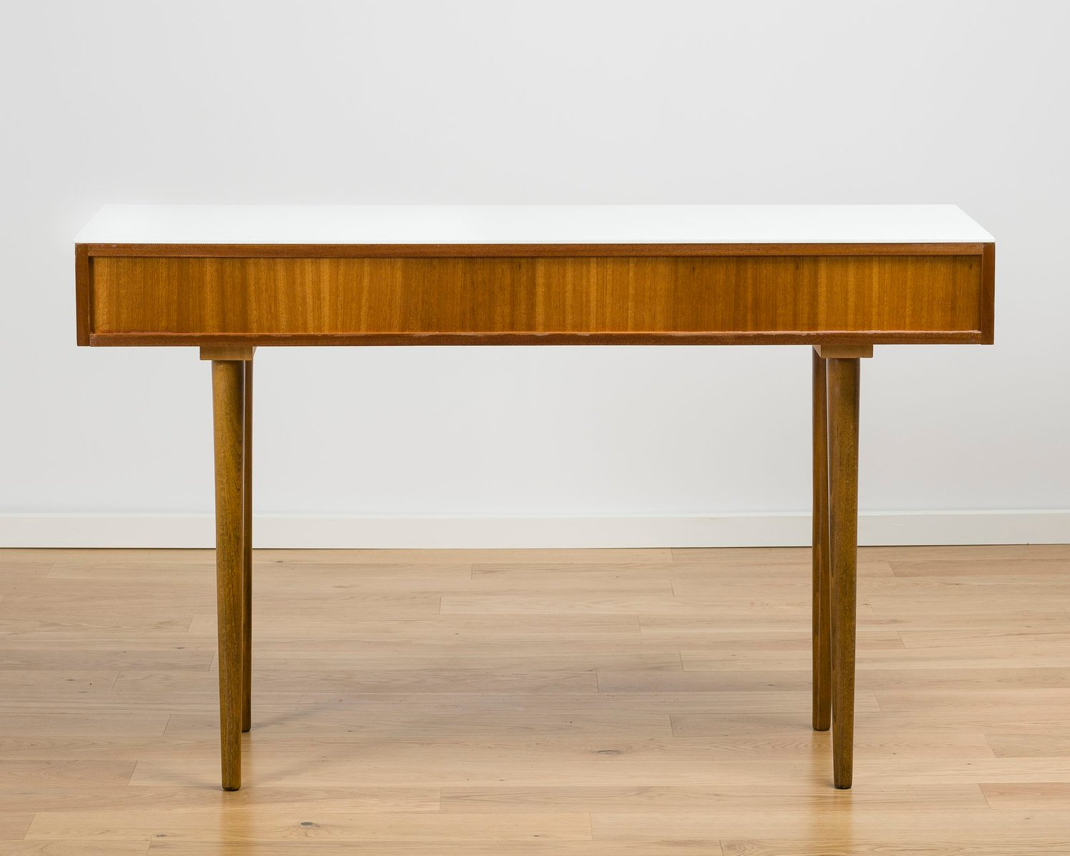 White Glass Amp Wood Console Table 1960s For Sale At Pamono