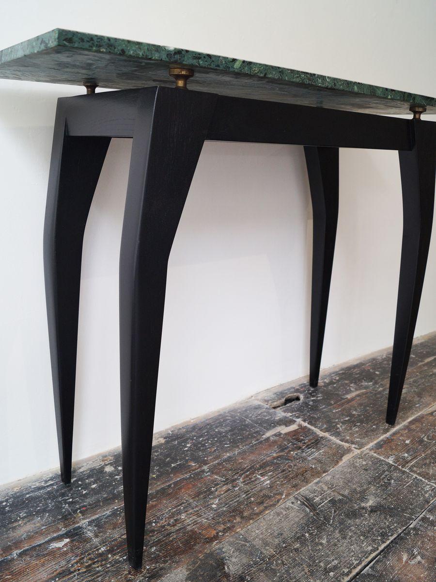 italienischer ebonisierter vintage konsolentisch mit gr ner marmorplatte 1980er bei pamono kaufen. Black Bedroom Furniture Sets. Home Design Ideas