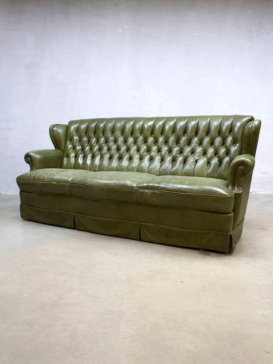vintage chesterfield leder sofa in botanic green bei. Black Bedroom Furniture Sets. Home Design Ideas