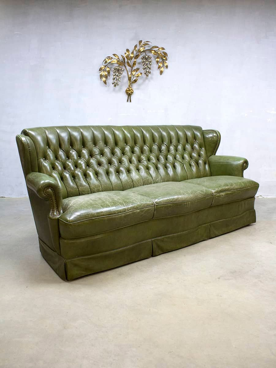 vintage chesterfield leder sofa in botanic green bei. Black Bedroom Furniture Sets. Home Design Ideas