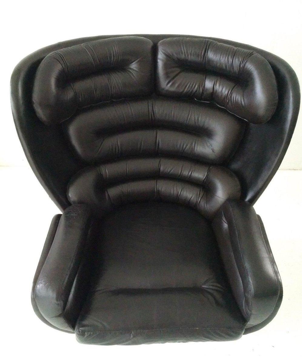 schwarzer elda leder sessel von joe colombo f r comfort. Black Bedroom Furniture Sets. Home Design Ideas