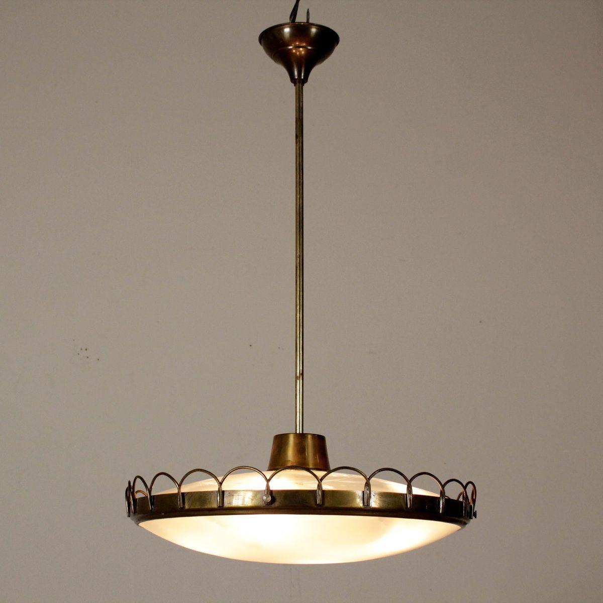 messing glas h ngelampe 1950er bei pamono kaufen. Black Bedroom Furniture Sets. Home Design Ideas