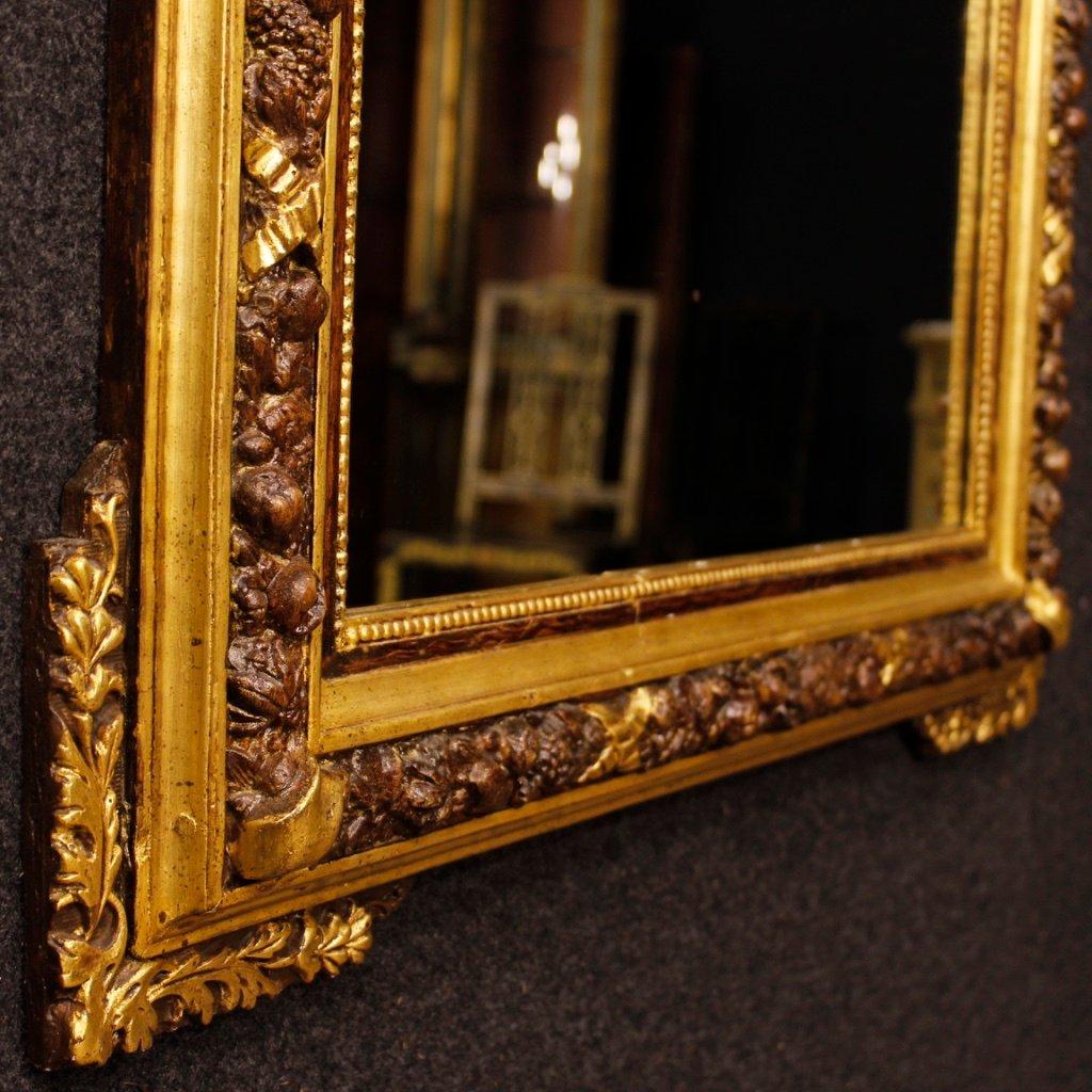 vergoldeter italienischer mid century spiegel aus holz gips bei pamono kaufen. Black Bedroom Furniture Sets. Home Design Ideas