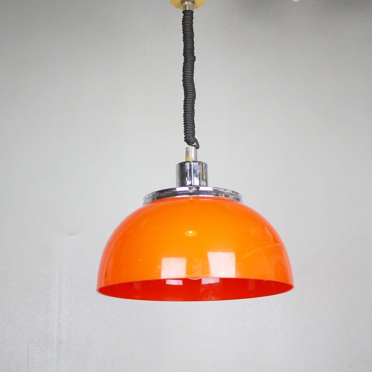 Mid century pull down orange pendant light from meblo for sale at pamono mid century pull down orange pendant light from meblo mozeypictures Gallery