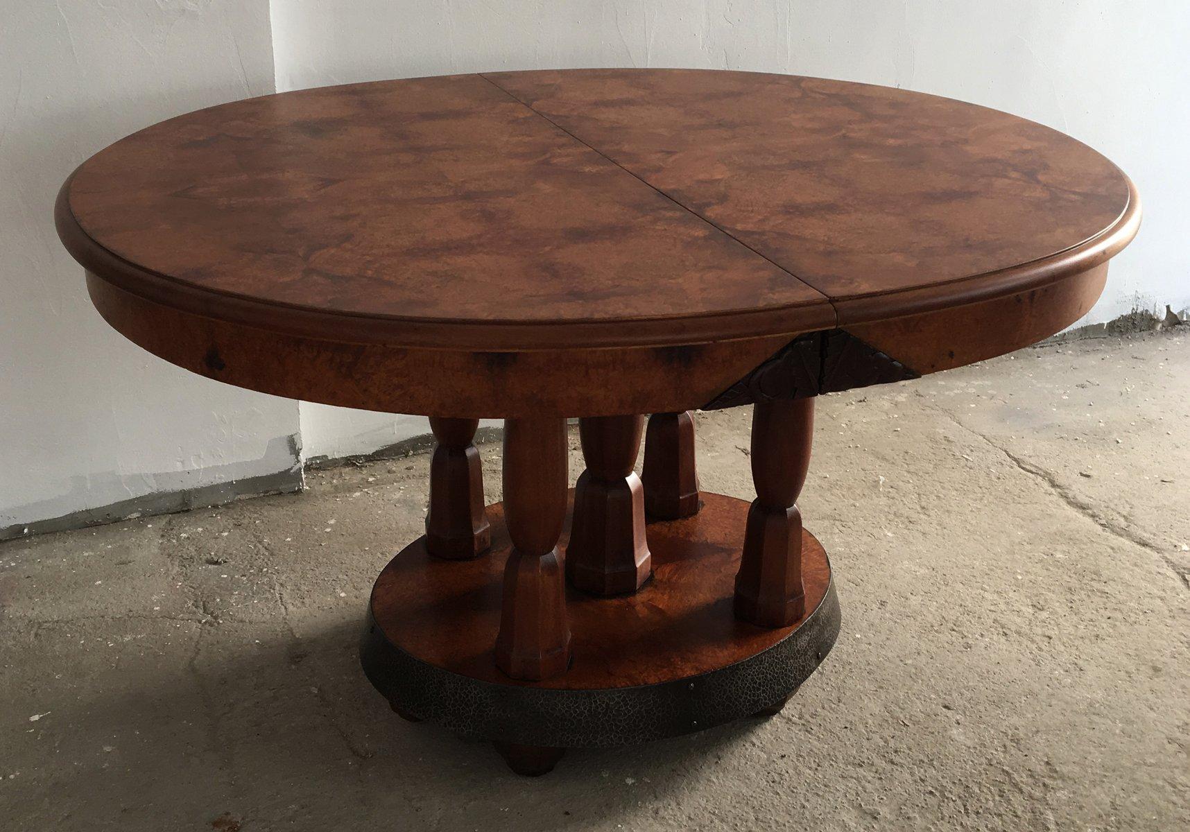 Tavolo da pranzo rotondo art d co in radica di noce e mogano francia anni 39 30 in vendita su pamono - Tavolo 12 posti ikea ...