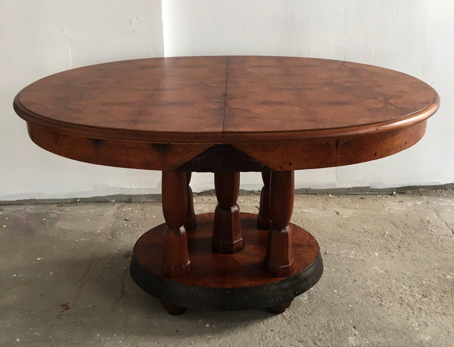 Tavolo da pranzo rotondo art d co in radica di noce e mogano francia anni 39 30 in vendita su pamono - Tavolo da falegname vendita ...