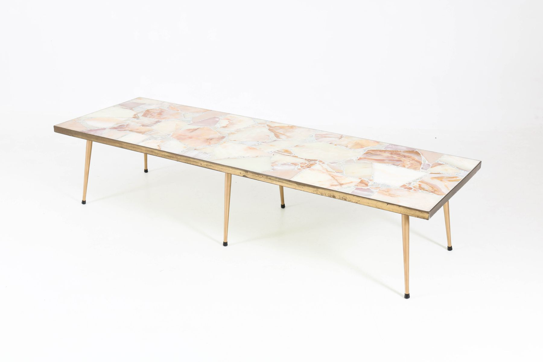 Large Italian Mid Century Modern Coffee Table With Onyx Top 1950s