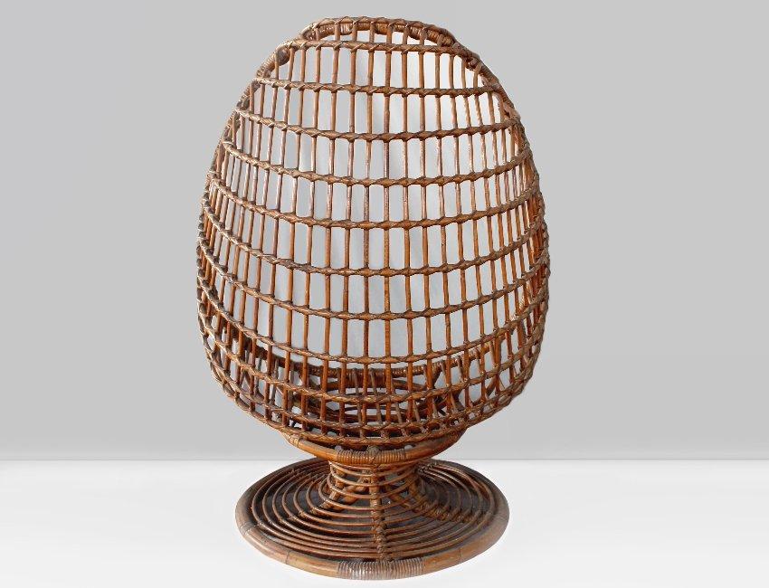 italienischer rattan egg chair 1960er bei pamono kaufen. Black Bedroom Furniture Sets. Home Design Ideas