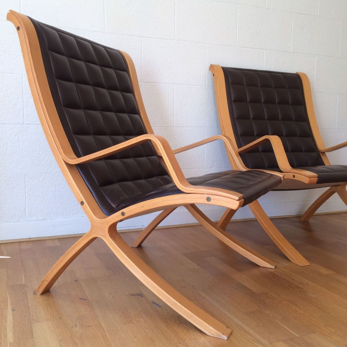 d nische vintage sessel von orla m lgaard nielsen f r fritz hansen 1980er 2er set bei pamono. Black Bedroom Furniture Sets. Home Design Ideas