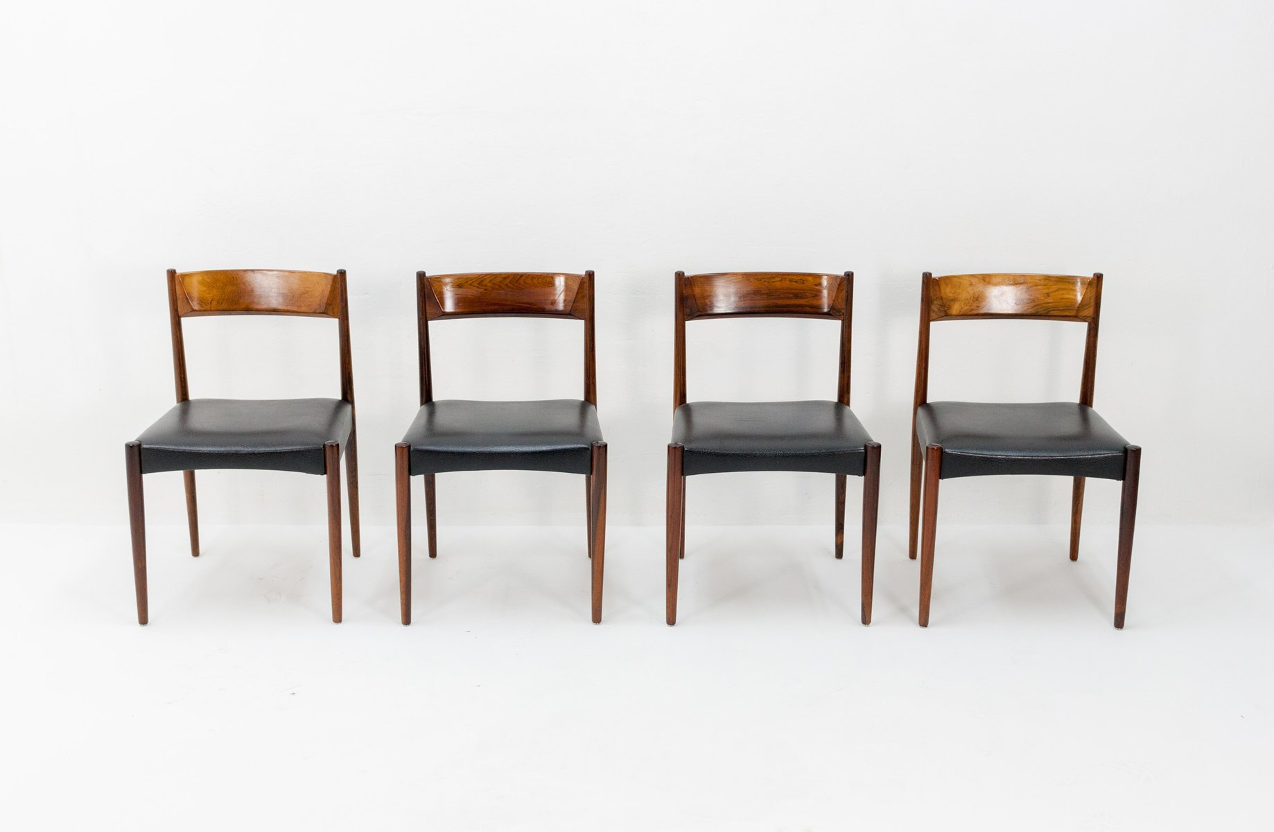 Rosewood and black leather dining chairs from l bke 1960s for Black leather dining chairs