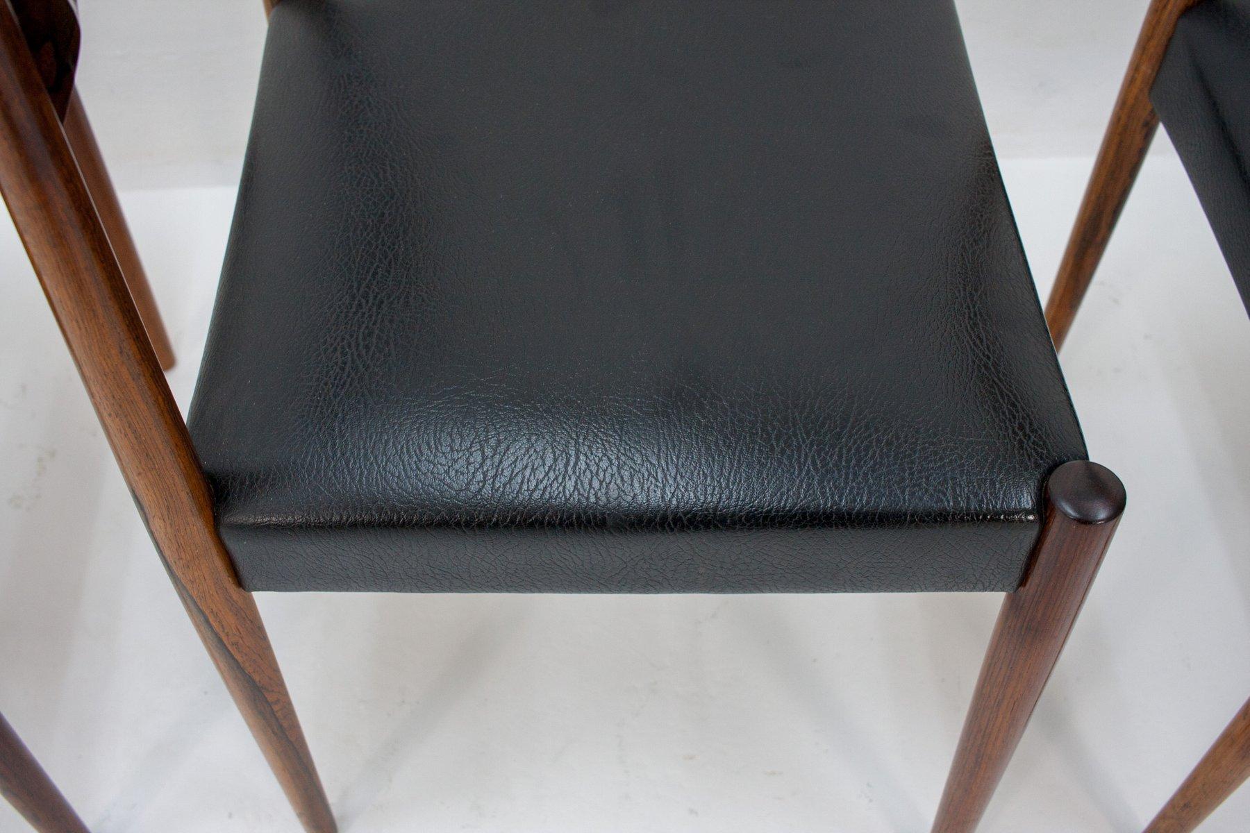 esszimmerst hle aus palisander und schwarzem leder von l bke 1960er 4er set bei pamono kaufen. Black Bedroom Furniture Sets. Home Design Ideas